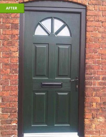 Dark wood door after installation